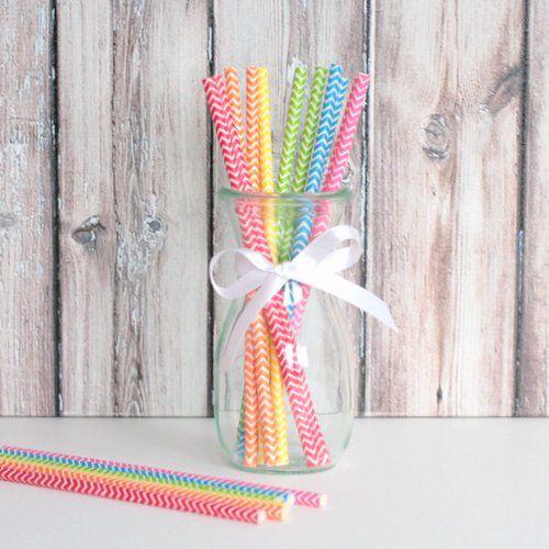 Chevron Party Straws - Rainbow Mix super ;)
