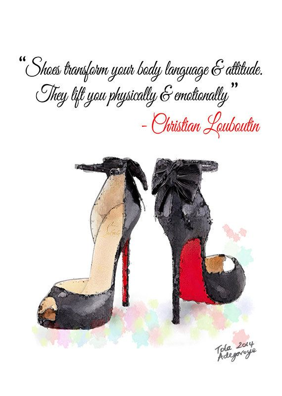 Black & Red Louboutin High Heels Shoes Quote Giclee Print from Original Watercolor Fashion Illustration Artwork by ArtByTola