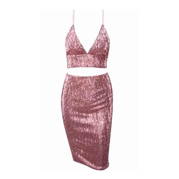 Hot Button Pink Sequin Spaghetti Strap Plunge Crop Top Bodycon Two... ($108) ❤ liked on Polyvore featuring dresses, body con dresses, short sequin cocktail dresses, red sequin cocktail dress, sequin bodycon dresses and sequin mini dress