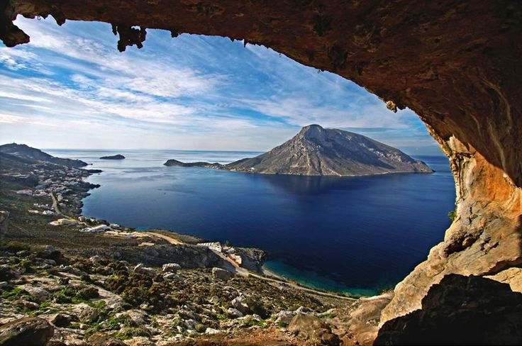 The stunning view from the Dolonas Cave, island of Kalymnos, Greece. Photo by Nicolas Smalios