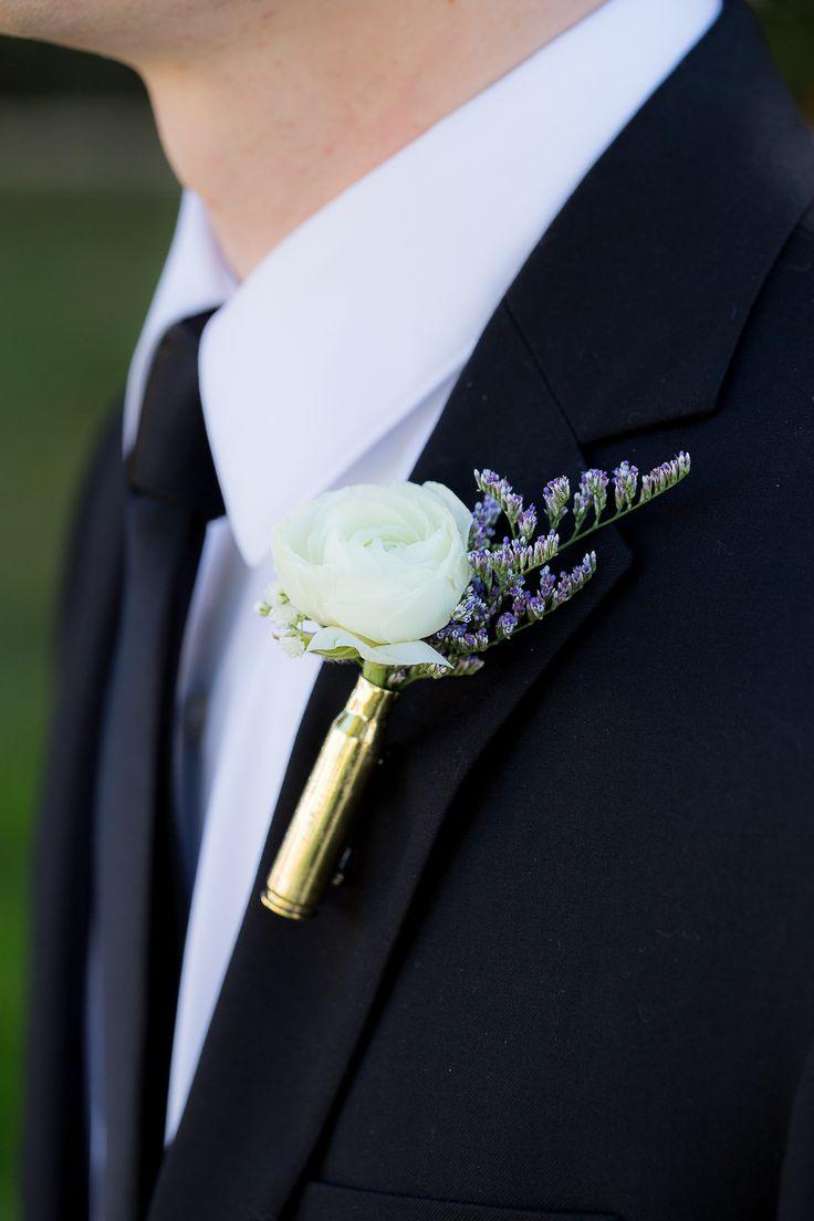 bullet casing boutonniere   #wallflowerinspiration #ranunculus #wedding #floraldesigns #weddingcake