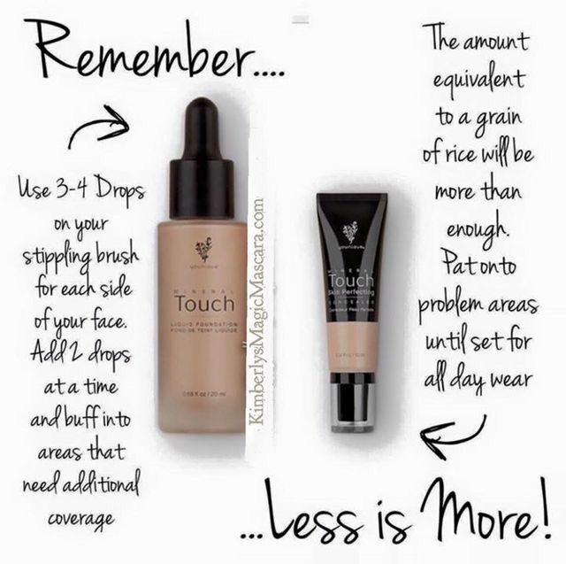 Liquid Touch Mineral Foundation and Concealer both cover beautifully with small amounts of product use.  These containers will last you quite a while!! #ginasnaturalbeauty #naturalmakeup www.Ginasnaturalbeauty.com