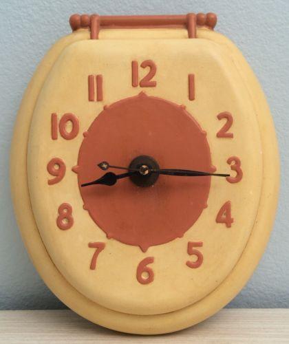 Vintage 1978 Yellow Retro Ceramic Toilet Seat Bathroom Wall Clock Country  Chic | EBay