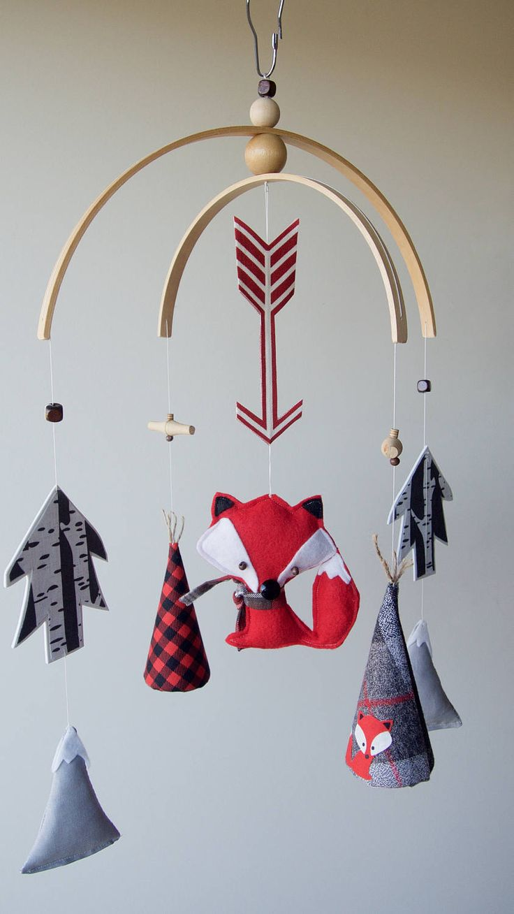 Teepees & Fox Baby Mobile - Plaid/Red/Black/Grey - Outdoor Adventure Nursery Decor by PetiteMBaby on Etsy