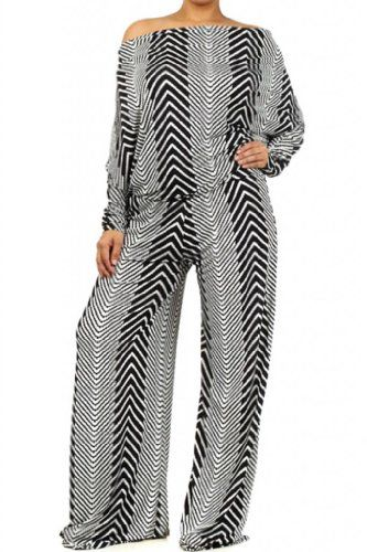 FASHION BUG PLUS STYLE WOMENS PRINTED OFF THE SHOULDER JUMPSUIT www.fashionbug.us