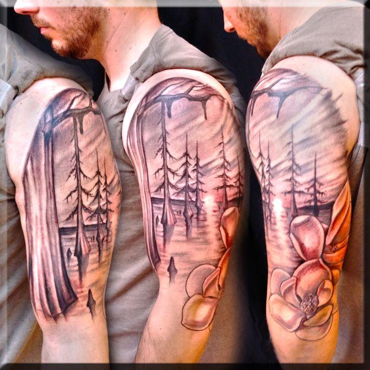 Swamp Scene tattoo by Greg Couvillier. #best #beautiful #awesome #tattooed #tat, #tatts, #art, #instatattoo, #instaart, #sleevetattoo, #tattoist, #tattoos, #chesttattoo, #design, #ink, #handtattoo, #tattooed, #coverup, #amazingink, #tattoo, #tflers, #inked, #bodyart, #instagood, #tagsforlikes, #tattedup, #tatted, #inkedup, #tats, #blackandgrey, #blackandgray, #amazingink, #bodyart, #photooftheday #lafayette #la #louisiana #customink #ink #tattooed #tattooshop #swampscene #laswamp #magnolia