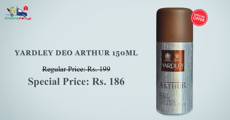 You can buy online Yardley Deo Arthur 150 ML at less than MRP - Rs.186.00 from Kiraanastore.