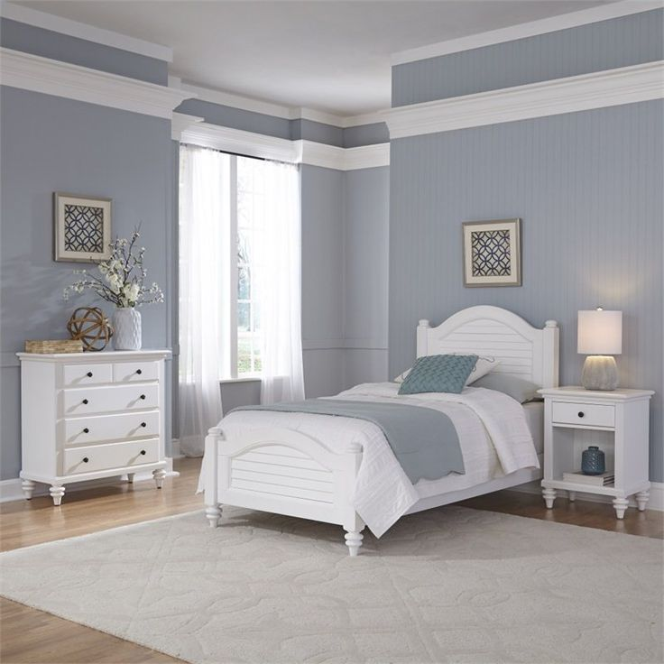 3 Piece Wood Twin Bedroom Set In White