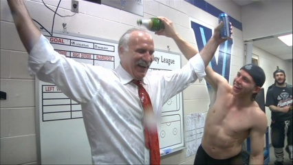 topless Kaner getting Coach Q's Mustache drunk