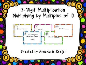 Thank you for purchasing my product! These 30 task cards align with Chapter 3 Lesson 1 from the 4th grade Go Math! curriculum. They will practice multiplying 2-digit numbers by multiples of 10 (some include multiples of 100 for a challenge). They will be asked to apply certain mental math strategies such as using place value, halving and doubling, and the properties of multiplication.
