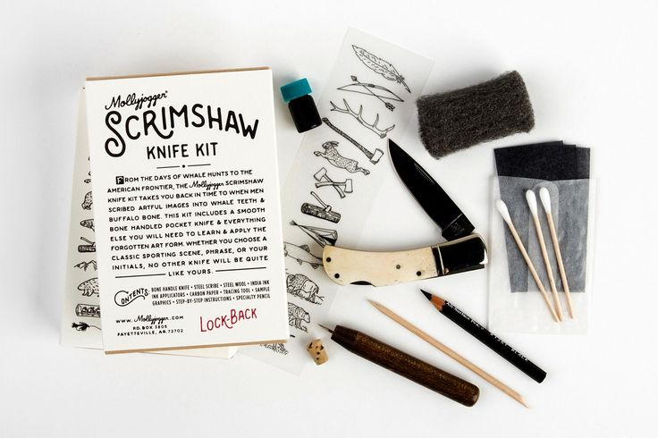 "When you don't know what gift to give a guy, a knife is usually a safe bet.  There are some beautifully made ones available and ones you can even help  to craft yourself. This Scrimshaw Knife Kit takes the early American art  form of Scrimshaw that originated from the whaling industry in the late  1700's and lets you recreate that art form to make your own original  knife.   As the story goes on the Mollyjogger site based in Fayetteville, Arkansas,  ""During the many idle hours a..."