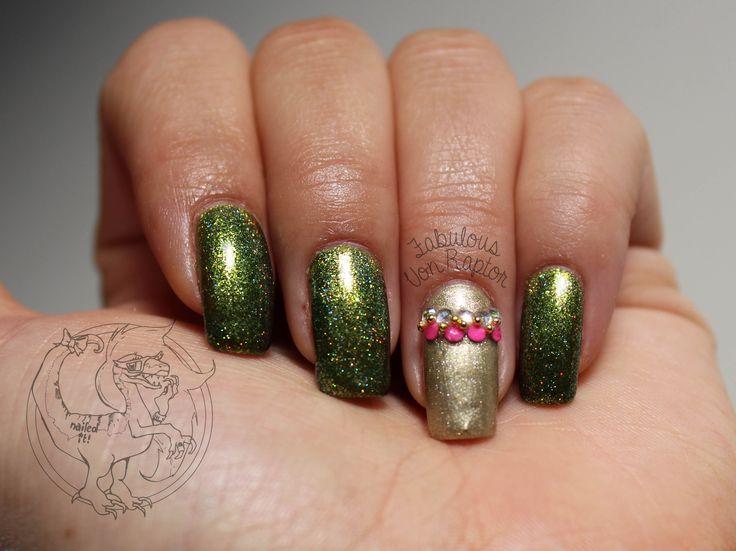 Fabulous Von Raptor - Tribal Lime Holo Gold Nail Art