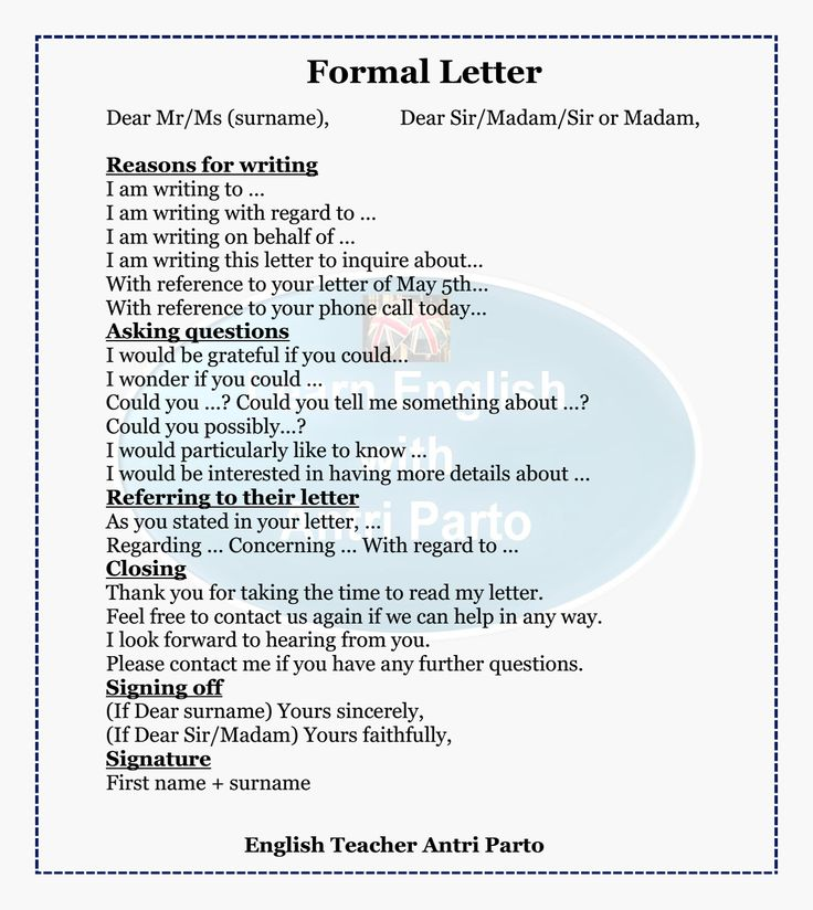 English writing help a letters formal