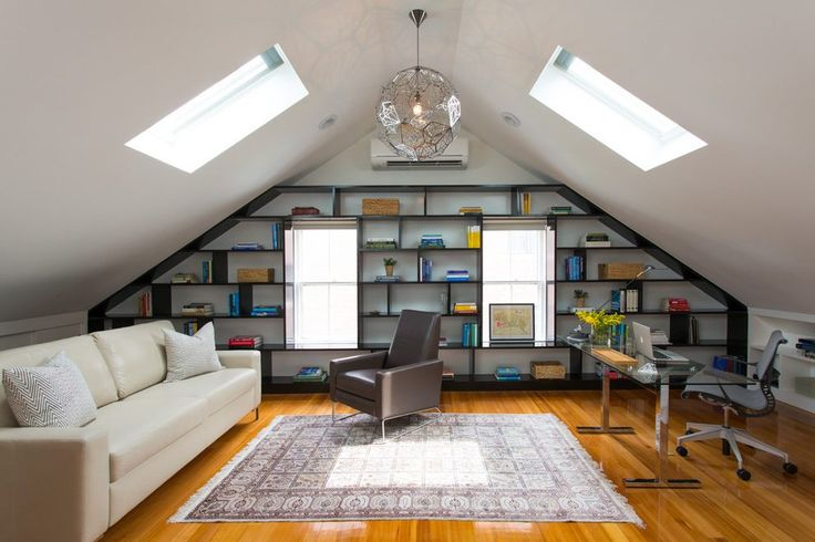bookshelves in attic home office transitional with built in shelves contemporary task chairs