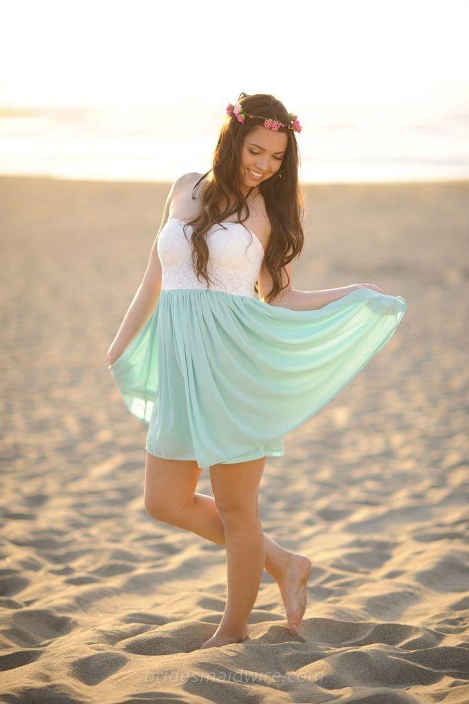 Two Tone Strapless Sweetheart Short Beach Wedding Bridesmaid Dress