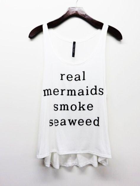 Real Mermaids Smoke Seaweed Tank Top, White