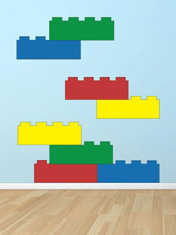 Lego blocks vinyl wall decal art by GrabersGraphics on Etsy, $38.00