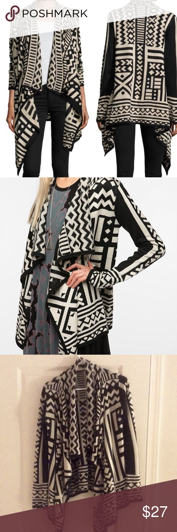 Urban Outfitters Black White Tribal Print Sweater Awesome tribal print black and white open-front sweater. Long sleeves, soft, warm, great condition! Staring at Stars Sweaters