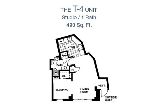 65 Prospect Street Terrace Studio Apartment Floor Plan - Studio/1 Bath, 490 sq. Ft.