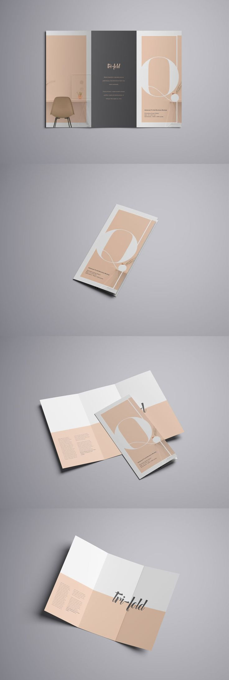 Advanced Trifold Brochure Free PSD Mockup | Pixlov