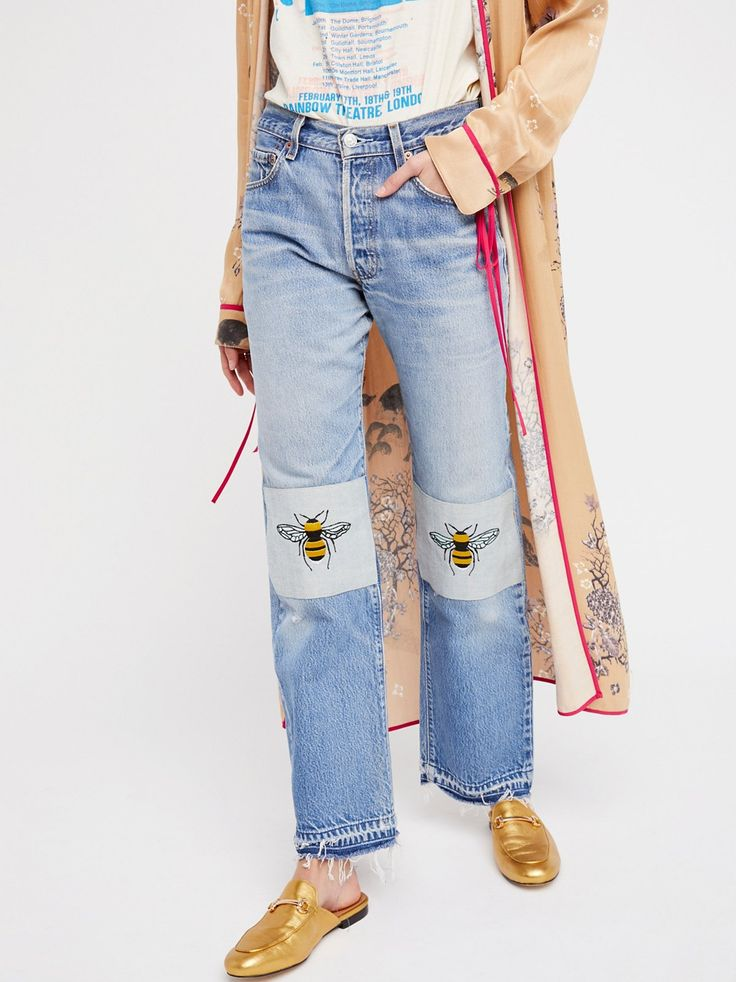 Barber Bee's Knees Embroidered Jean at Free People Clothing Boutique