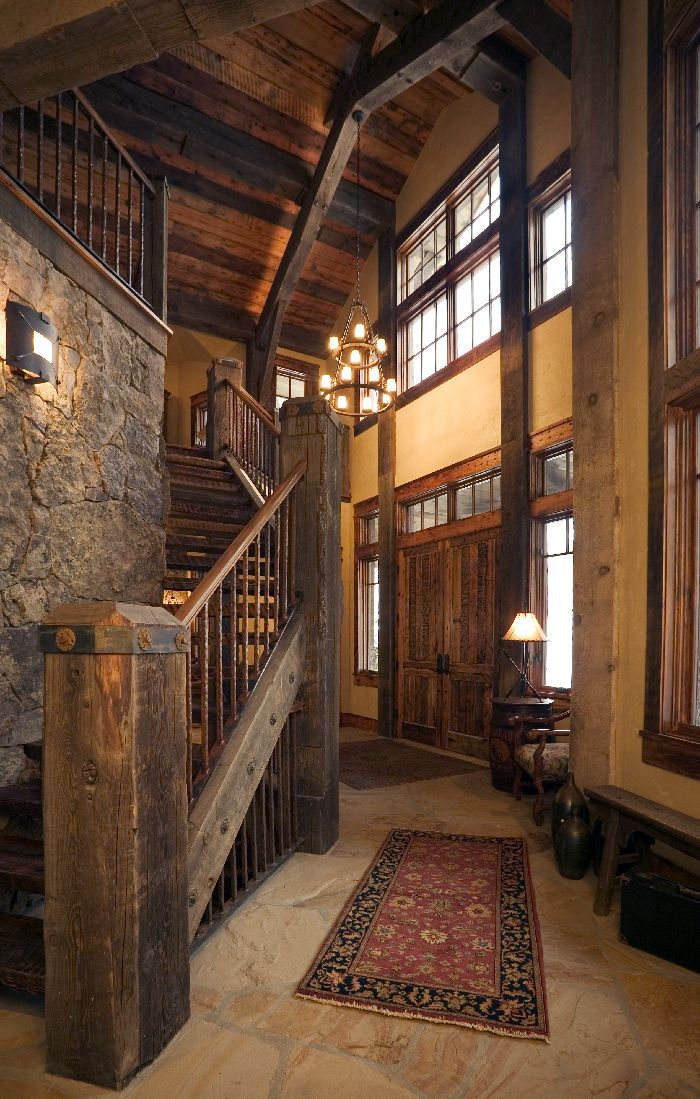 western mine style ski in ski out home entrystairwell interior design idea