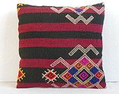 couch pillow case kilim pillowcase crochet kilim pillow cover eclectic fabric couch throw pillow handembroidery pillowcase red black pink 16