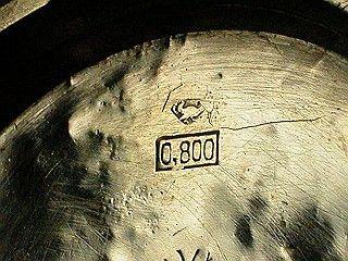 「右向きの鳥の刻印」=silver800。ジュエリーではないですが…。「三銘堂 レッツ商会 銀無垢 ハンターケース」