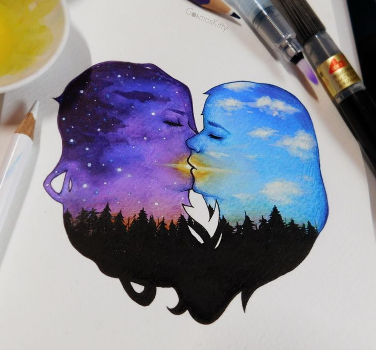 """Using beautiful watercolors, heavens merge and worlds collide with grace and harmony.  Share your art and be part of our community's Pride flag: http://danlev.deviantart.com/journal/Celebrate-Pride-Your-Art-Our-Pride-Flag-682905635?utm_source=social&utm_campaign=060117_MKT_PrideArtCosmosKitty&utm_medium=pinterest  """"Harmony and Spirit"""" by CosmosKitty…"""