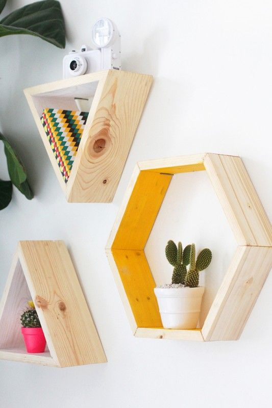 estanteria hexagonal DIY centro de mesa triangulos