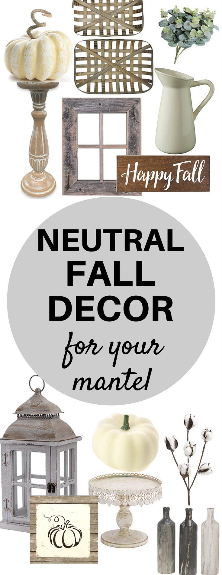 A Brick Home: Neutral fall decor ideas | white pumpkins | neutral fall living room decor | farmhouse fall decor | fall ideas | fall decor | Mantel decor | fall mantel ideas