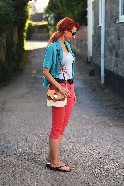 Coral Capri pants with green & blue by Not Dressed As Lamb