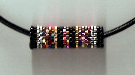 Black Confetti Barrel Necklace