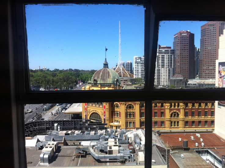 The view onto Flinders Street Station from Blindside.