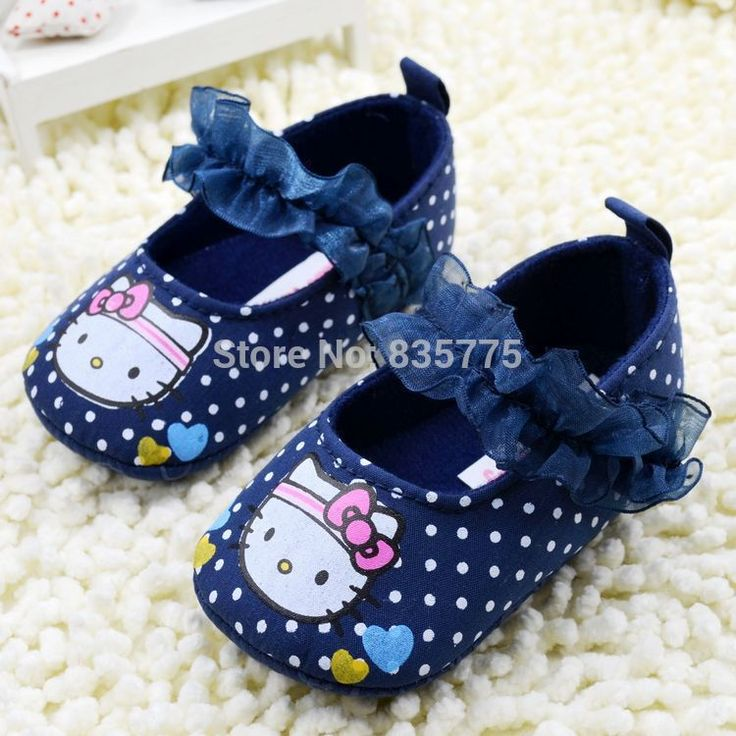 New Sweet Cute Cartoon Newborn Baby Prewalker Soft Soled Shoes Infant Toddler Mary Janes Polka Dot Hello Kitty Anti-slip Shoes(China (Mainland))