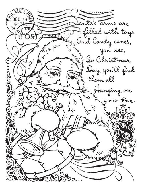Stampendous - Cling Mounted Rubber Stamp - Santa Collage,$8.99