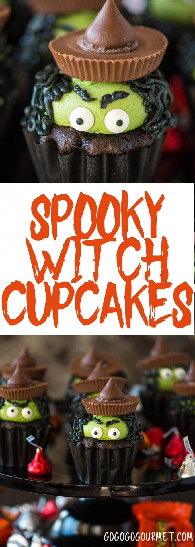 These Witch Cupcakes are an adorable Halloween cupcake idea! Super easy to do with candy eyes and favorite Halloween treats! via @gogogogourmet