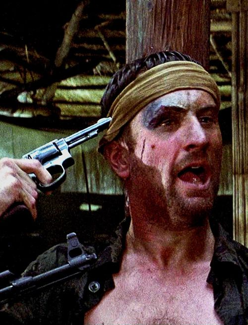 """A caption from a horrifying scene in Michael Cimino's, The Deer Hunter, 1978 - Michael """"[holding a bullet] Stanley, see this? This is this! This ain't something else. This is this. From now on, You're on your own!!."""""""