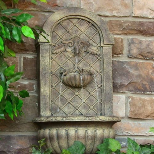 Venetian Outdoor Solar Wall Fountain Florentine Stone Garden Decor Water Feature