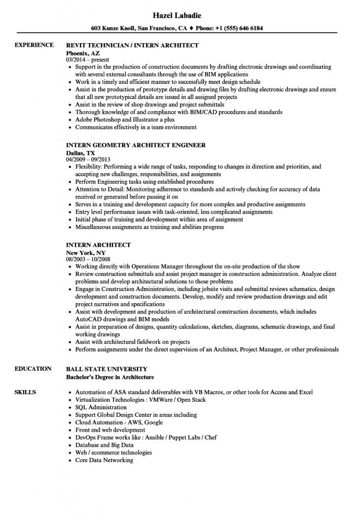 Resume Format For Architecture Internship 2021 In 2021 Architect Resume Sample Resume Format Resume