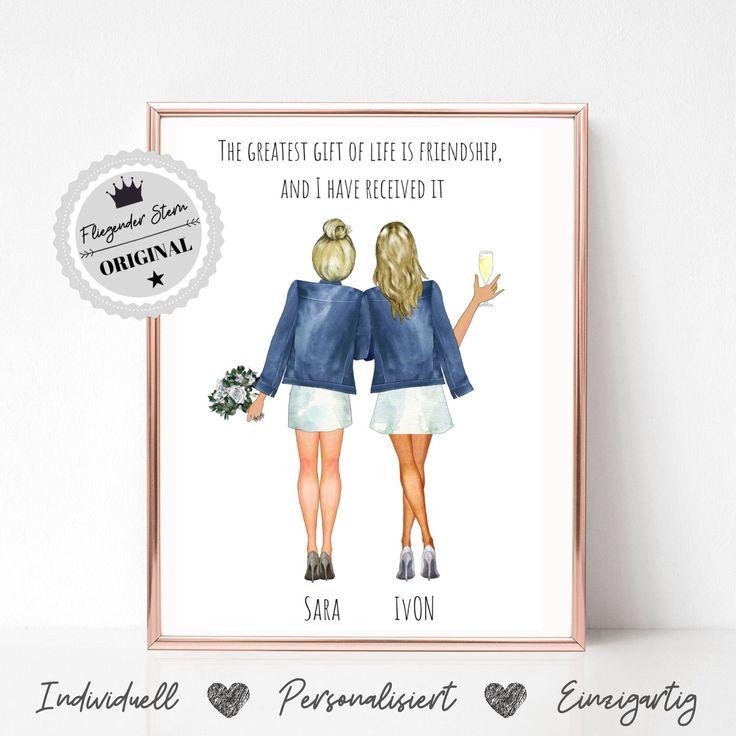 Braut und Trauzeugin Danke Geschenke | Hochzeitsgeschenke | Braut und Trauzeugin Poster | Brautjungfern Geschenke | Trauzeugin Geschenke
