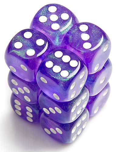6-Sided Purple Dice, Purple Sparkle with White Dots