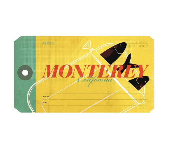 Monterey vintage luggage tag for The Everywhere Project. Design by Tim Denee.Design Inspiration, Design Interview, Design Projects, Blog Archives, Luggage Labels, Graphics Design, Design Snippets, Design Assembly, Tim Dene