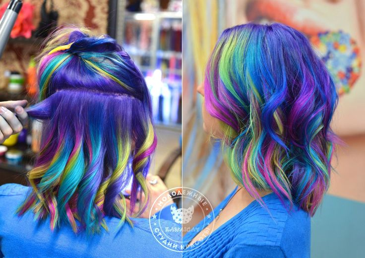 http://salon.kawaicat.ru/jarkoe_okrashivanie  - больше работ по цветному окрашиванию. Фиолетовые волосы Окрашивание волос цветным красителем Антоцианин. Anthocyanin
