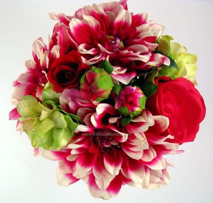 Fuchsia and white dahlias, green hydrangeas and small red roses....would need pink roses instead though