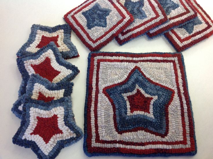 This listing is for the rug hooking pattern Red, White and Blue Mug Rugs on your choice of cotton monks cloth or primitive linen.  This is for the PATTERN ONLY, not the finished mats.  A 4 x 6 photo  and how to finish tips are included with the pattern.  It does not include instruction on how to ho