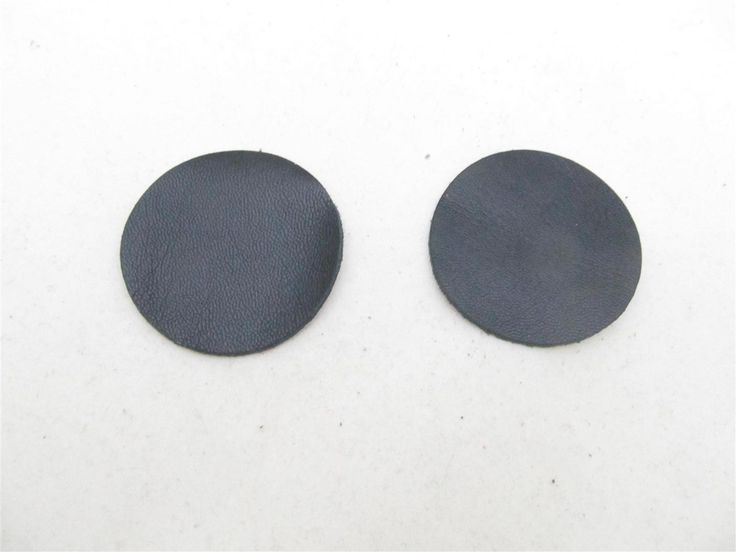 Black leather discs 45mm (2 pcs) DIY cut leather flowers Craft supplies Jewelry materials Leather pieces
