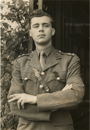 Dirk Bogarde served in WWII being commissioned into the Queen's Royal Regiment in 1940. He reached the rank of Captain and served in both the European and Pacific Theaters as an intelligence officer. He served five years and was awarded seven medals.