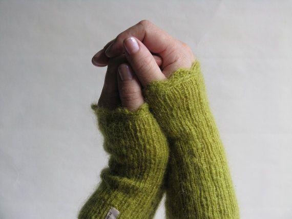 Gloves Fingerless Knitted in Lime Green Mohair with Crochet Trim by AGirlNamedMariaDK on Etsy #gloves #fingerless #wrist #hand #warmers #mittens #mitten #glove #mohair #green #wool #lime #olive #soft #fluffy #agirlnamedmariadk #denmark #danish #design #scandinavia #scandinavian #knitted #knitting #knit #handmade #crochet #crocheted #scallopped #scallop #rib #ribbed