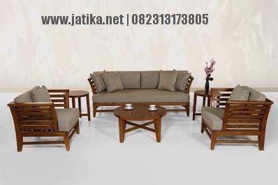 Set Kursi Tamu Minimalis jari-jari ini merupakan salah satu produk kursi tamu yang dibuat dari bahan kayu jati berkualias